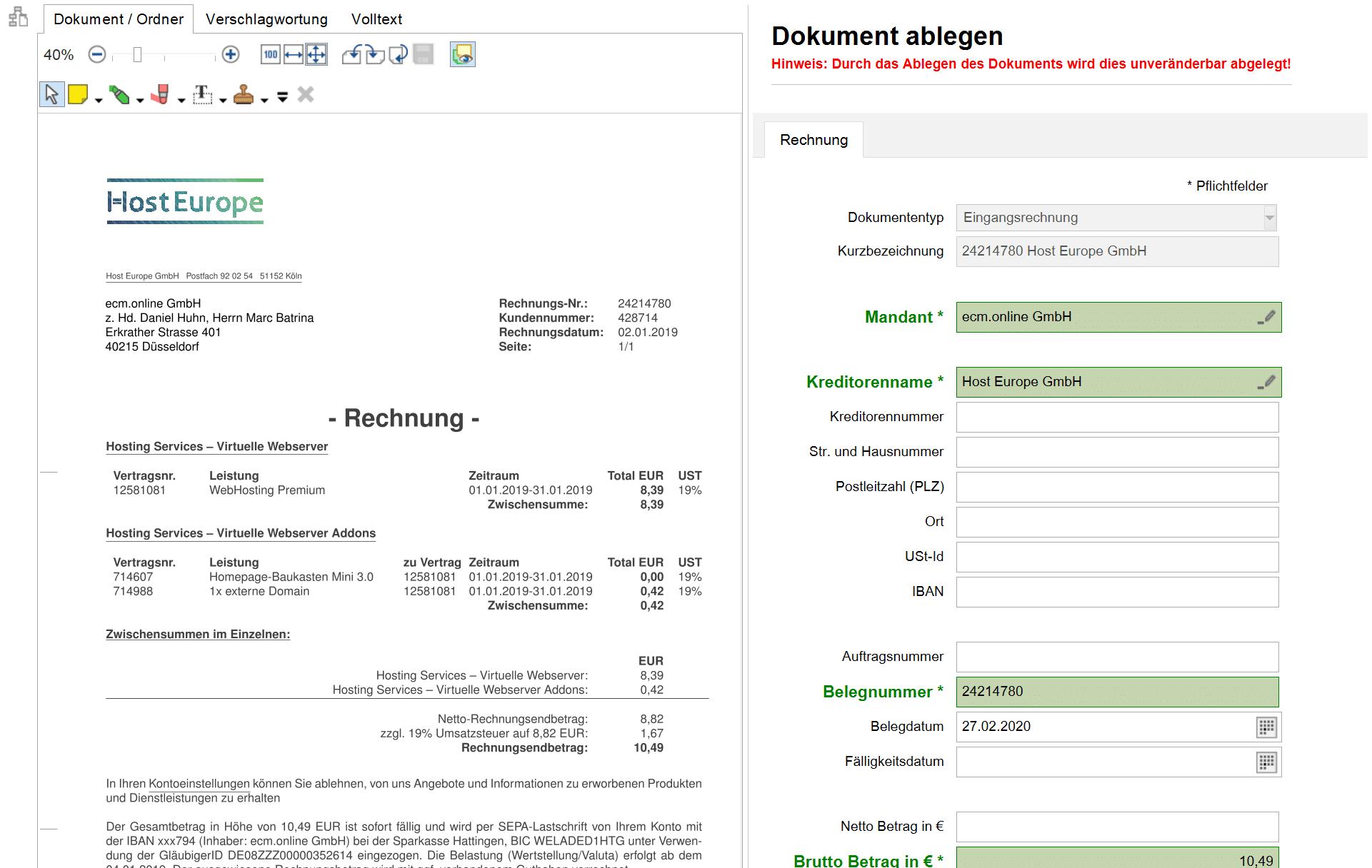 Erfassung von Rechnungsdaten in Invoice Basic