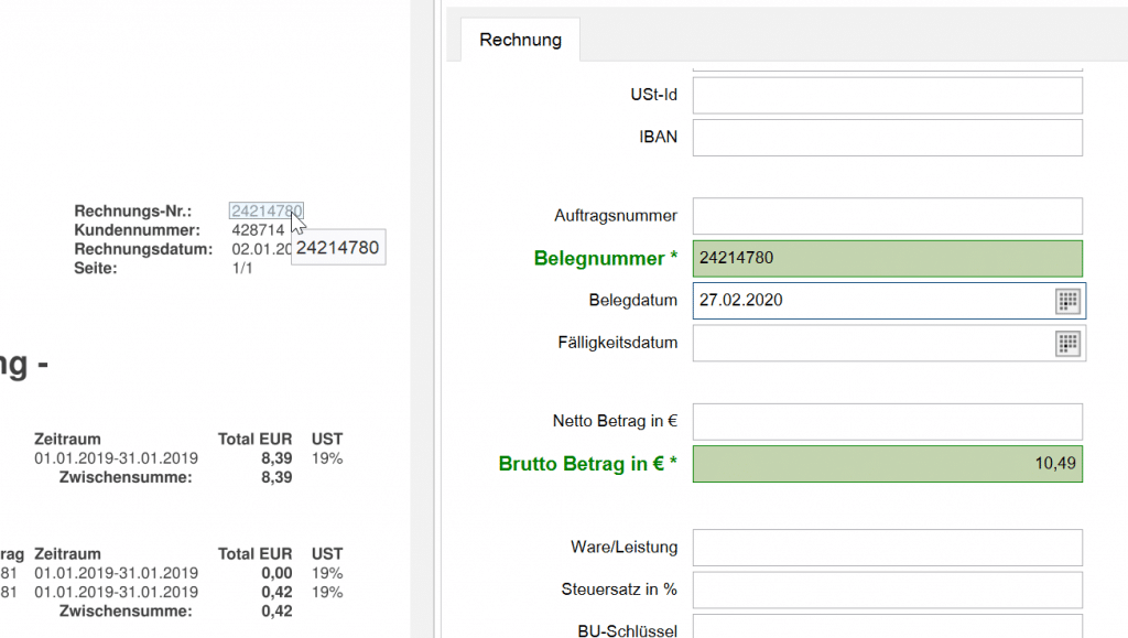 Invoice Basic Texterkennung im Formular