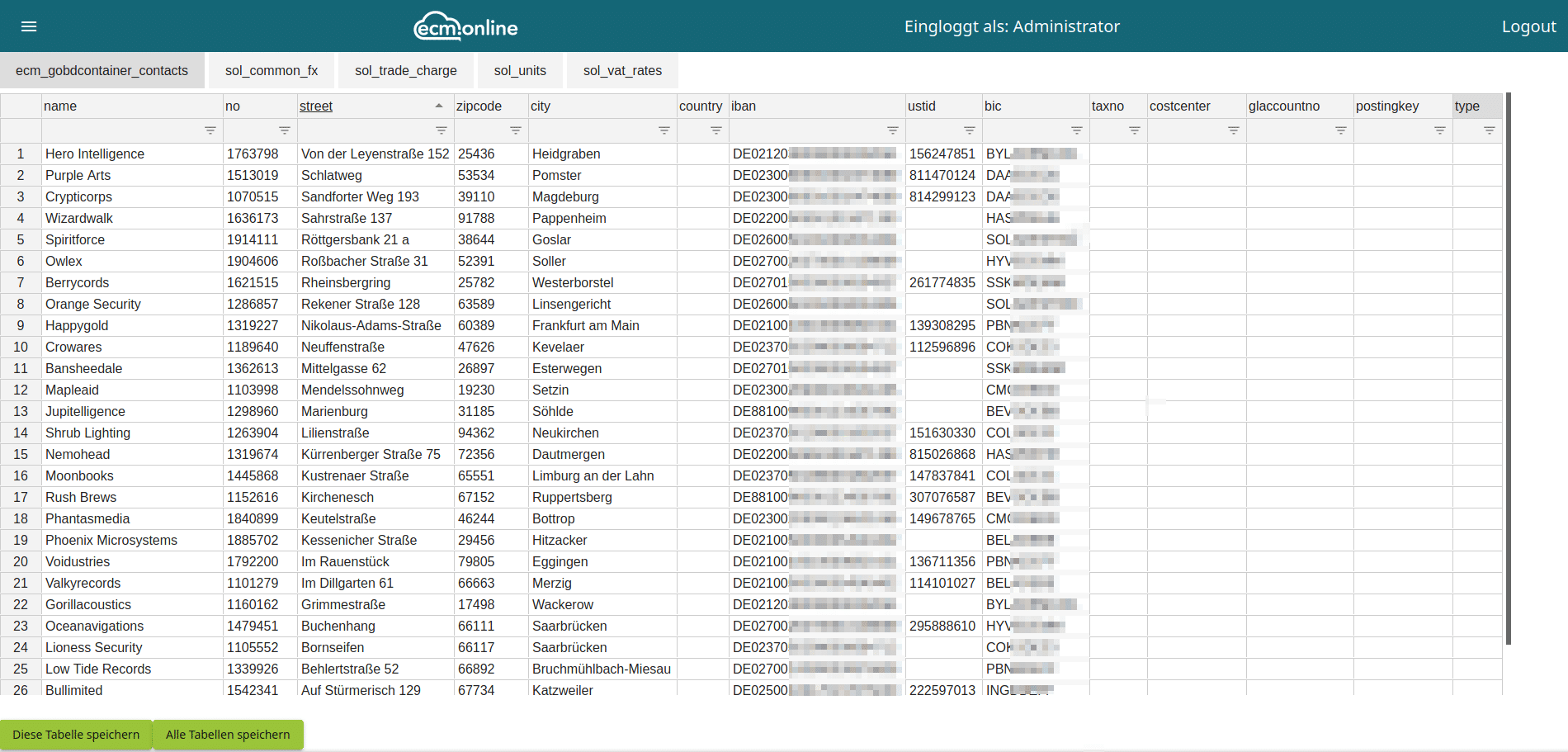 Stammdaten bearbeiten in Invoice Basic