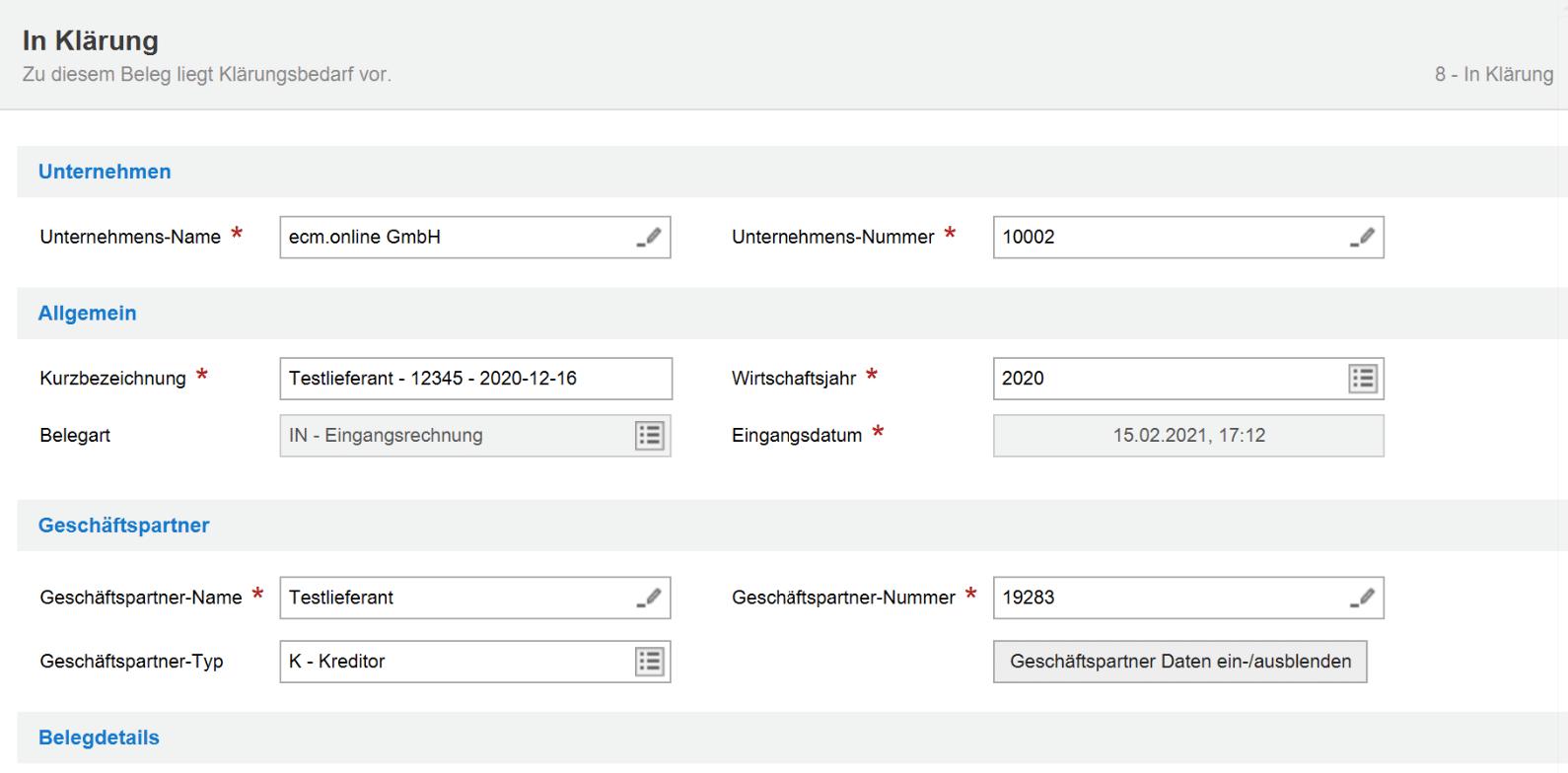 Ablage von Dokumenten in Invoice Basic